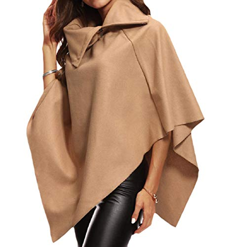 (AngelSpace Women Asymmetrical Zip-Front Caftan Poncho Fall Winter Trench Coat Camel S)