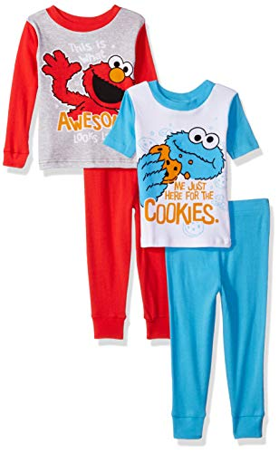 Sesame Street Boys 4-Piece Cotton Pajama Set, Red Seasame, ()