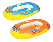 BESTWAY 34009 - Barca Hinchable Infantil Happy Crustacen 135X89 cm 3-10 Años