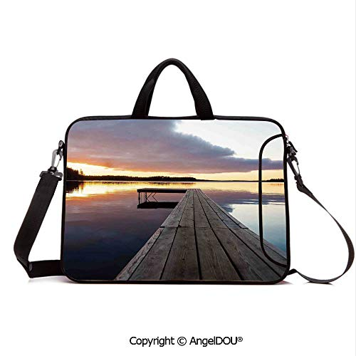 AngelDOU Neoprene Printed Fashion Laptop Bag View of Sunset Over an Old Oak Deck Pier and Calm Water of The Lake Horizon Sere Notebook Tablet Sleeve Cases Compatible with Lenovo Asus Acer HP Multi