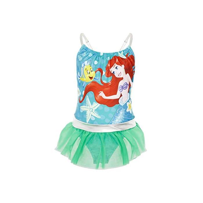 41s05N4if3L ? TRAJE DE BAÑO DE LAS PRINCESAS DISNEY --- Estos bonitos trajes de baño de las princesas Disney nos presenta a los personajes más populares de las famosas películas: La sirenita Ariel, Cinderella, Jasmine, Rapunzel, Blancanieves, Pocahontas, Bella, Mulan, Tiana y Mérida. Nuestro traje de baño para niñas está disponible en 2 diseños diferentes y en una amplia gama de tallas. ? 2 DISEÑOS PARA ELEGIR --- Nuestros trajes de baño para niñas están disponibles en 2 diseños, cada uno con detalles con volantes y tirantes finos. Elige entre nuestro traje de baño de la sirenita Ariel en color verde esmeralda o nuestro traje de baño con todas las princesas Disney en color rosa. Mezcla de poliéster