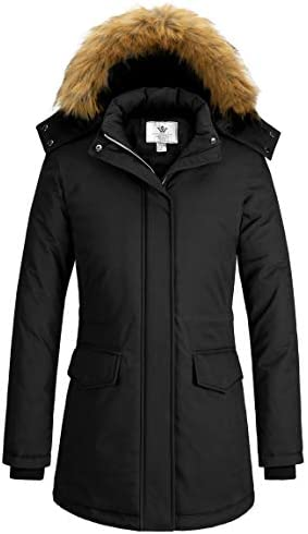 WenVen Women's Winter Waterproof Thicken Parka Jacket Warm Coat with Fur Hood