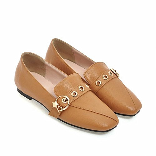 Latasa Womens Monk-Strap Slip On Loafers Flats Amber UjxcyKM