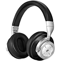 Linkwitz Bluetooth Headphones, Wireless Active Noise Cancelling Headphones with Built-in MIC, Stereo Over-Ear Headset for Cell Phones Gaming PC TV, Upgraded Steel Black