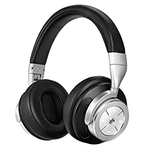 Bluetooth Headphones Over Ear - Wireless Active Noise Cancelling Headphones with Built-in MIC, Stereo Foldable Headset for Cell Phones Gaming PC TV, Upgraded Steel Black