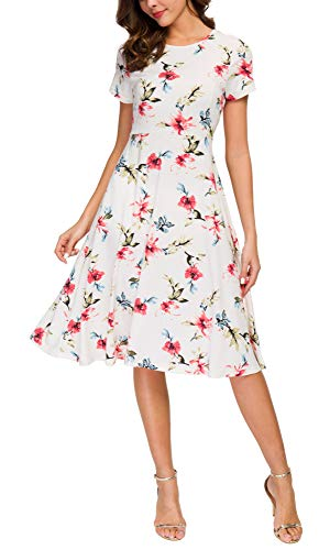Urban CoCo Women's Floral Print Short Sleeve Flared Midi Dress (M, 5)
