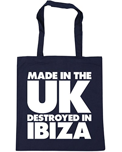 UK Gym Made litres 42cm the Bag Destroyed Beach in Navy Shopping HippoWarehouse French 10 x38cm Ibiza Tote in gqxztW7wdS