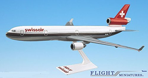Swissair (OC) MD-11 Airplane Miniature Model Snap Fit 1:200 Part# AMD-01100H-007 (200 Snap Fit Model)