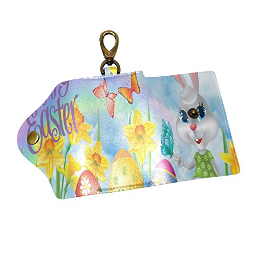 Key Organizer Easter Bunny Grass Egg Wallpaper Key Holder Leather Car Key Cover Fob -
