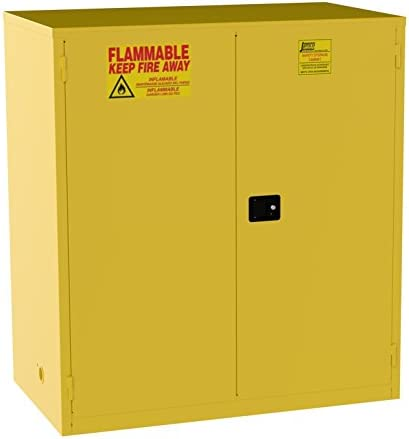 Jamco Products Model BM120 120-Gallon Safety Steel Cabinet for Flammable Liquids Manual Close Doors, 59-Inch x 34-Inch x 65-Inch , Yellow