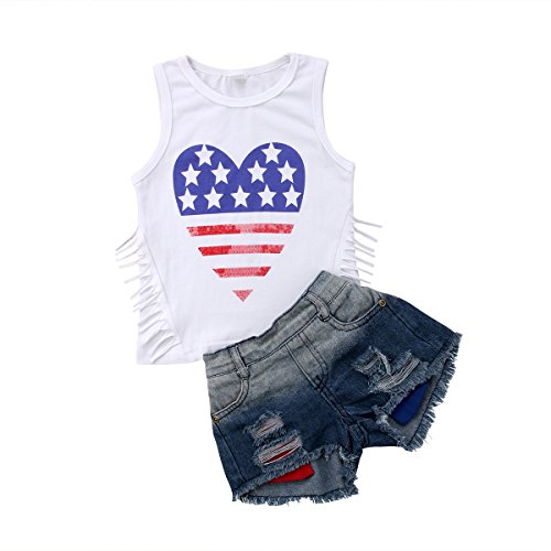 - Infant Baby Girls Sleeveless Denim Shorts Sets,2Pcs Kids Vest Top + Ripped Jeans Pants Outfits
