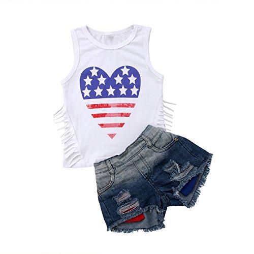 Infant Baby Girls Sleeveless Denim Shorts Sets,2Pcs Kids
