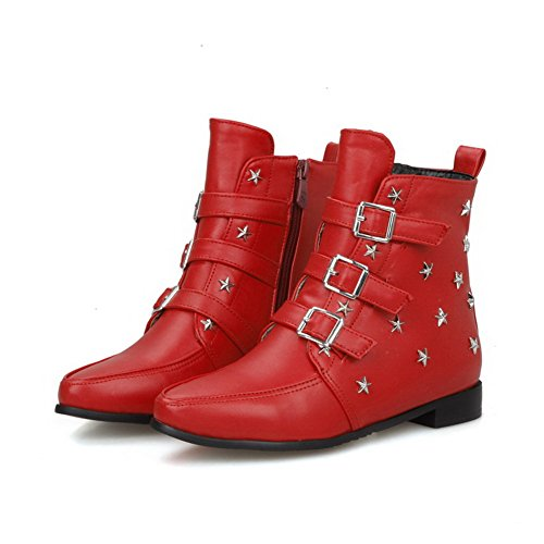 AgooLar Top Pointed Boots Closed Low Low Zipper Toe Red Solid Heels Women's UXUxrEq7