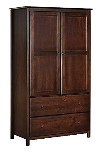 Cherry Finish Solid Pine Wood Shaker Furniture Armoire