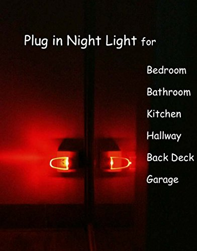Plug in LED Night Light Lamp 4 Pack with Light Sensor RED