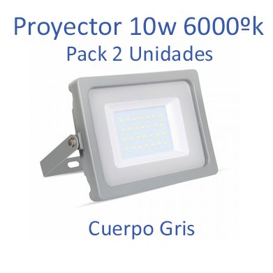 Proyector Led Cuerpo Gris 10w en tono luz fria (6400ºk) [Pack 2 Unidades] de la marca V-TAC. (Gris)