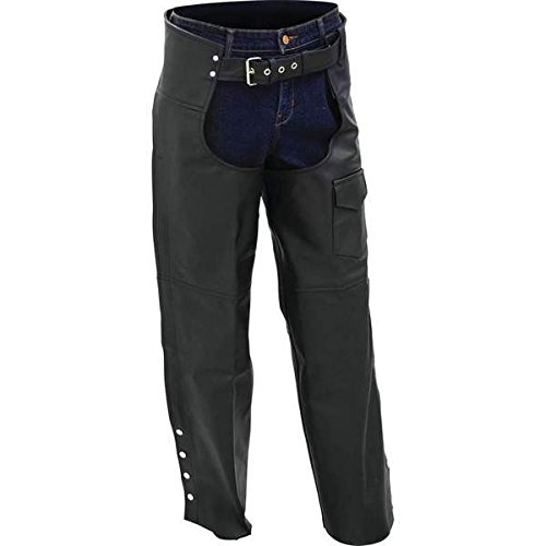 BNFUSA BKCHPSLBL Rocky Mountain Hides Buffalo Leather Motorcycle Chaps - Large B & F System Inc