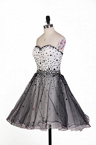 Besswedding Courtes Robes De Demoiselle D'honneur Perles Des Robes De Cocktail Pour Le Blanc Et Le Noir Des Femmes Soir