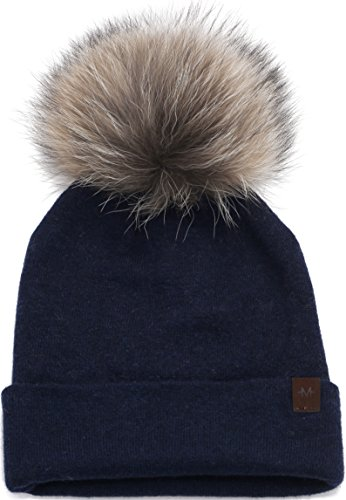 Marino's Knit Pom Beanie Winter Hat, Cashmere Blend Womens Knit Hats for Winter with Snap-On Rabbit Fur Pompom - Navy