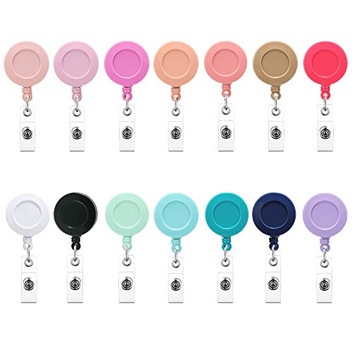 Soleebee 24'' Retractable Badge Reel, Mixed Random Solid Color Nurse ID Badge Holder with 360° Swivel Alligator Clip (Pack of 12)