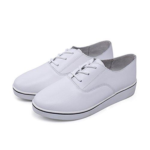 Señora blanca zapato respirable/Zapatos de mujer planos/Encaje de zapatos casual A