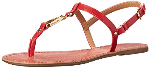 Tommy Hilfiger Women's Leni Dress Sandal, Red, 7.5 M US