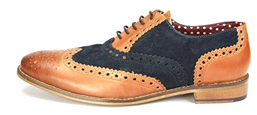London Homme Navy Cuir Tan Brogues richelieu Mocassin Gatsby ZZ71wAfxq