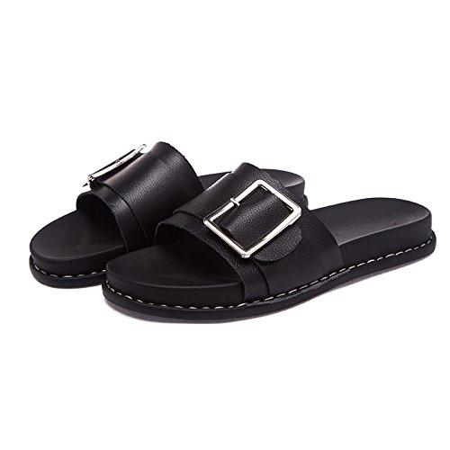 ZPPZZP Ms sandali pantofole indossa selvatici piana scanalata stile Coreano 36EU nero