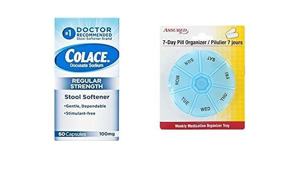 Amazon.com: Colaca el ablandador de heces docusato de sodio, cápsulas de 100 mg, 60 Count con gratis 7 días plástico píldora organizadores: Health ...
