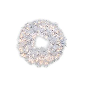 National Tree 30 Inch Wispy Willow Grande White Wreath with Silver Glitter and 100 Velvet Frost White Lights (WOGW1-304-30W) 86