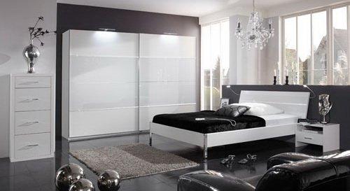 Schlafzimmer in Alpinweiß mit Weiß-Glas, Strasskristallen, 4-tlg. Kleiderschrank B: 225 cm, Bett Liegefläche 180 x 200 cm, 2 Nachtschänke B: je 54 cm