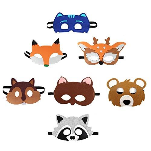 (Uxinhu Kids Animal Masks, Forest Friends Felt Masks Children Christmas Dress-Up Costume Party Favors 7)