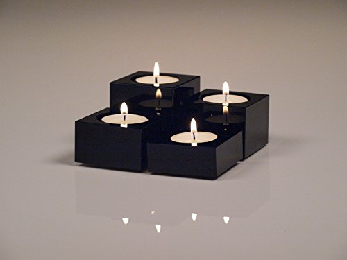 Black Crystal Candle Holders, Heavy Solid Square Tealight Holder Set, Elegant and Classy Gift Box, By Emu (Tealight Candle Box)