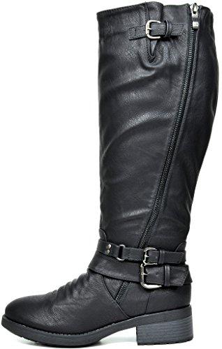 TRAUM-PAAR-Frauen Kniehohe und herauf Reitstiefel (breites Kalb verfügbar) Schwarz