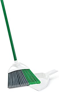 """product image for Libman Commercial 206 Precision Angle Broom with Dust Pan, Steel Handle, 11"""" Wide, Green and White (Pack of 4)"""
