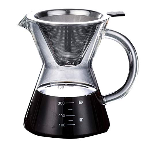 Acquisto Versare caffettiera Elegante caffè a Goccia con caraffa e Filtro Permanente in Acciaio Inox (400 ml) Prezzi offerta