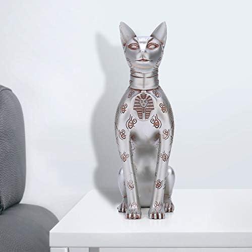 Welcometo Ornamento da tavolo Egiziano Cat Carfts Stile europeo Decorativo resina Cat God decor per soggiorno Studio Decorazione dellufficio con due candele marvelously sweet astonishing