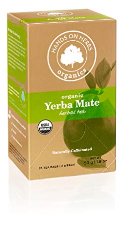 Hands on Herbs Organics Yerba Mate Organic Tea | Focus and Energy Without the Jitters of Coffee | Metabolism Booster | Potent in Antioxidants and Amino Acids - 25 individual tea bags 2 grams (1.8 oz) - incensecentral.us