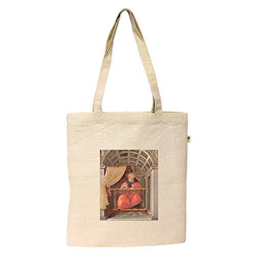 St Augustine In Exam (Botticelli) Hemp/Cotton Flat Market Bag - Augustine St Shopping In