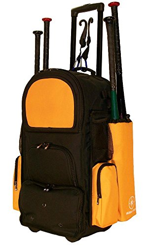 New Design Vista CTR in Black and Athletic Gold Softball Baseball Bat Equipment Roller Backpack with Innovative Removable Bat Sleeves, Embroidery Patch and Pull out Handle by MAXOPS