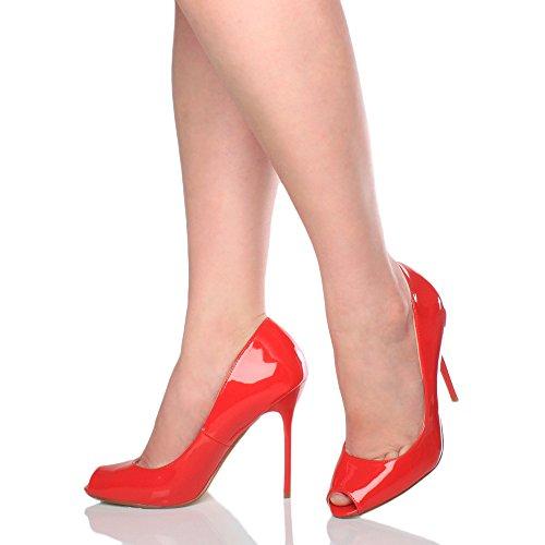 Chaussures Bout Sandales Rouge Escarpins Ouvert Simple Femmes Fête Verni Haut Pointure Talon x8wIpHqa0