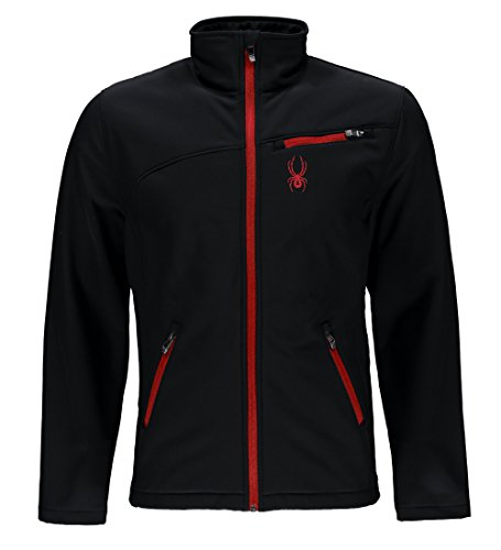 Spyder Men's Softshell Jacket, Black/Racing Red, Large (Spyder Men Ski Jacket)