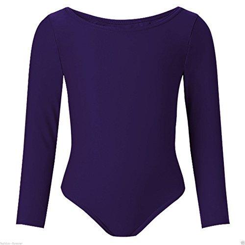 Child Girls Leotard Sleeved Stretchy Dance Gymnastics Ballet Sports Uniform Top (Navy, 28 ( 7 - 8 Years)) by REAL LIFE FASHION LTD by REAL LIFE FASHION LTD
