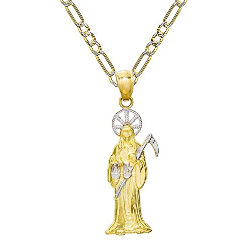 14K Two Tone Gold Santa Muerte Charm Pendant Necklace (20 Inches, White Pave Figaro Chain)