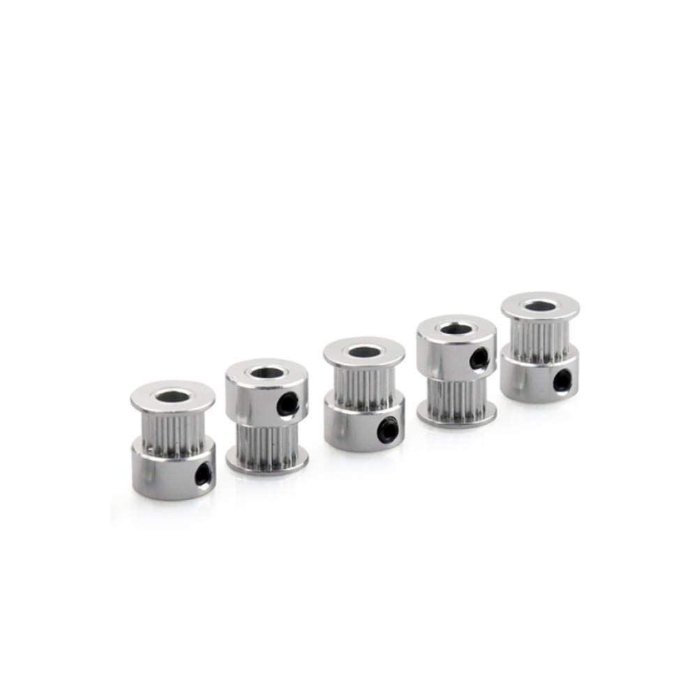 ukcoco 5pcs Toothless Timing Belt Pulley Idler GT2/20/Tooth 5/mm Bore Aluminum For 3d printer 6/mm Width Timing Belt
