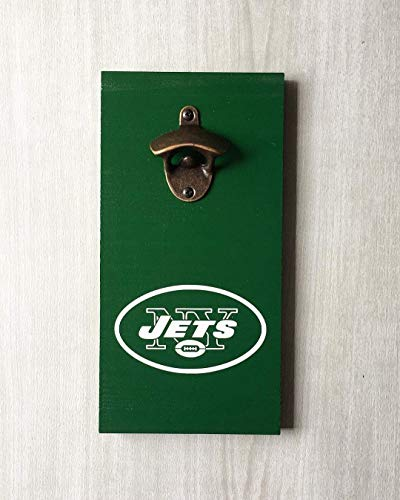 New York Jets Beer Bottle Opener | NY Jets Football Team Bar Sign | Wall Mounted Opener -by LEADING EDGE -
