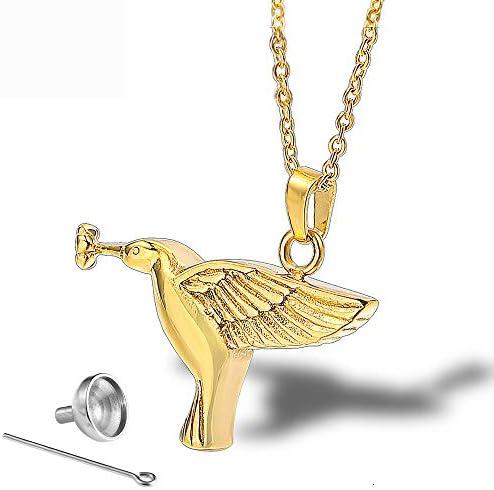 Winpavo Urne Urnen Anhänger Titan Stahl Parfüm Ätherisches Öl Flasche Halskette Anhänger Edelstahl Peace Bird Pet Asche Anhänger Souvenir
