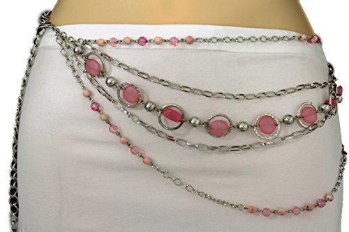 TFJ Women's Fashion Metal Belt Hip Waist Metal Chains Pink Beads Xs S M L Silver