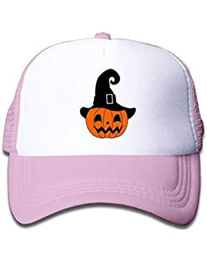 Pumpkin with Witch Hat5 On Boys and Girls Trucker Hat, Youth Toddler Mesh Hats Baseball Cap