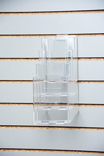 Clear-Ad - LHF-Z104 - Acrylic Slant Back 4 Tier Trifold Brochure Display w/ Z-bar for SlatWall - Plastic Literature Holder for Flyers, Booklets, Bills, Mail, Letters, Cards, Pamphlets, Maps ()